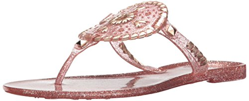 Jack Rogers Women's Sparkle Georgica Jelly Sandal, Rose Gold, 5 Medium US