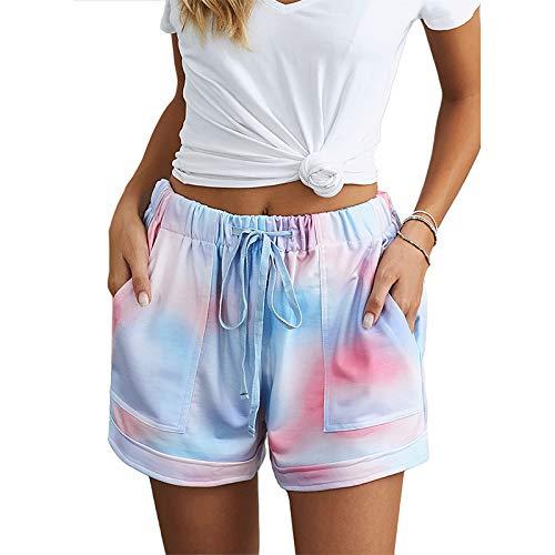 Pantalones Cortos Estampados con Personalidad de Moda de Verano para Mujer Pantalones Cortos elásticos cómodos con Cintura elástica con cordón Informal X-Large