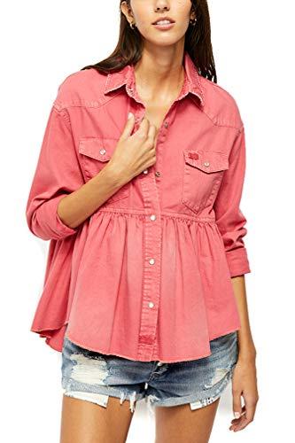 Free People Dylan Babydoll Denim Camisa (Pink Love) - rosa - Small