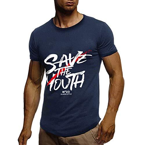 Xniral Spots T-Shirt Herren Beiläufig Kurzarmshirt Buchstabe Muster Sommer Tops mit Drucken Geschenke für Papa Männer Slim Fit(d-Marine,L)