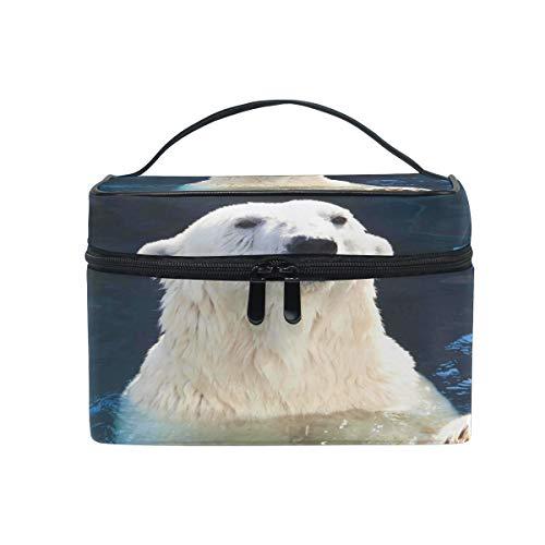HaJie - Bolsa de maquillaje de gran capacidad, organizador de viaje con animales de oso blanco, porttil, neceser de almacenamiento, bolsa de lavado para mujeres y nias