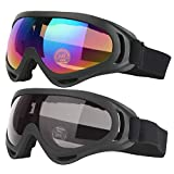 COOLOO Ski Goggles, Pack of 2, Snowboard Goggles for Kids, Boys & Girls, Youth, Men & Women, with Protection, Wind Resistance, Anti-Glare Lenses, Multicolor/Gray
