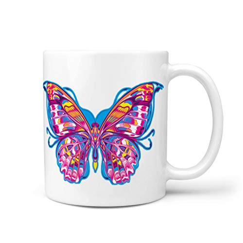 OwlOwlfan Taza de cerámica con diseño de mariposa, taza de té con asa para café, bar, cumpleaños, festival, regalo para familiares y amigos, color blanco 11 oz