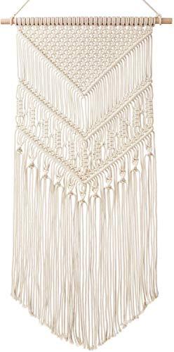 Mkouo Makramee Wandbehang Dekoration fur Ihr Zimmer wie die Kuche Bohmische Wanddeko Wandteppich von Baumwolle Handgefertiges Textil Einzigartiger dekorativer und Beiger Turvorhang
