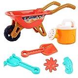 StyleBest Set da Gioco per Bambini su carriola da Giardinaggio e Spiaggia al Mare per attività all'aperto con Accessori tra Cui Secchio, Vanga e rastrello