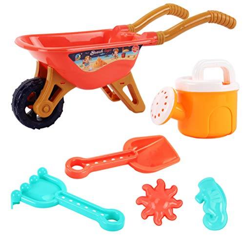 6 Stück Kinder Garten Schubkarre Spielset Sandkasten Spielzeug Strand Gartenwerkzeuge Trolley Spielzeug Spiel Strand Sandspielzeug Set Inklusive Schubkarre, Gießkanne, Spaten, Harke und 2 Sandformen