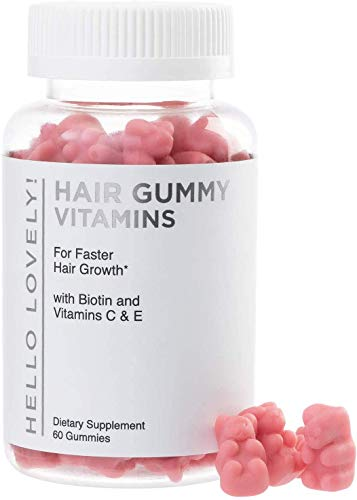 Angel Bear Hair Vitamins Gummies with Biotin 5000 mcg Vitamin C & E for Faster Hair Growth, Premium Pectin-Based, Non-GMO, for Stronger, Healthier Hair & Nails. Red Berry Supplement - 60 Gummy Bears