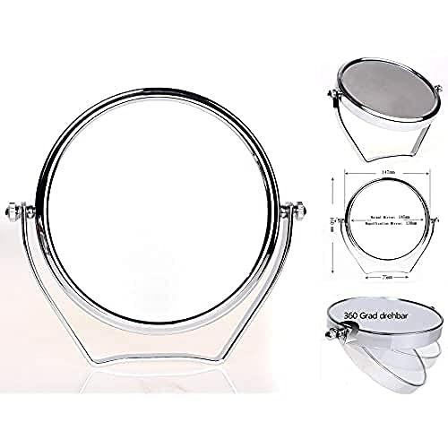HIMRY Miroir Maquillage sur pied, Grossissement x7, 6 Pouces Compact Miroir de Table, orientable sur 360°, Miroir de salle de bain, Tournant Miroir de Rasage, miroir de Ø 14,7 cm, Miroir pour la Chambre et Voyage, chrome, KXD3102-7x