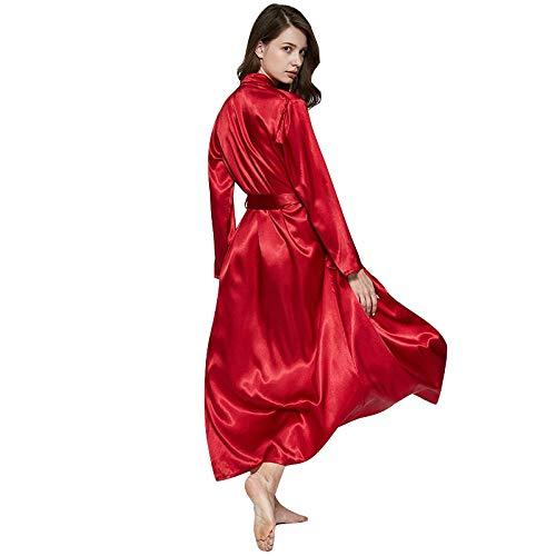 TaoRan Dames Zijde pyjama Bruids Gowns Lange Badjassen Zomer Dunne rode Bruiloft Badjassen Thuis Dressing Jurk