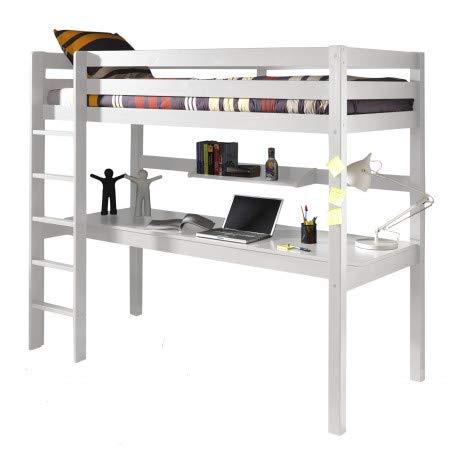 Alfred & Compagnie - Cama alta (90 x 200 cm, con escritorio de pino), color blanco