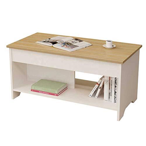 Mesa de centro con tapa elevable, Mesa auxiliar de madera y metal con almacenamiento oculto, Levante la mesa de comedor, mesa de ordenador, mesa auxiliar, mesa de té de muebles de sala de estar,B