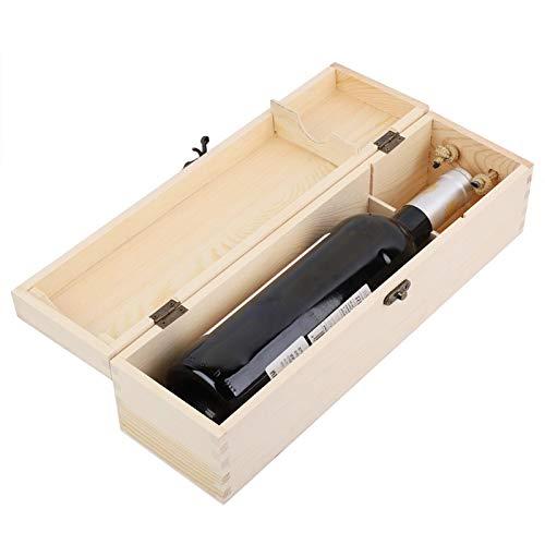 Caja de Vino de Madera para una Botella de 750 ml Caja de Vino Tinto Caja de Embalaje de Vino de Madera para Regalo, 13.8x3.9x3.9in