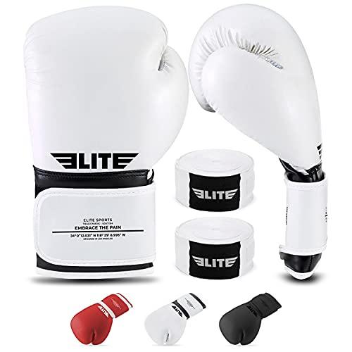 2021 Pro Boxing Gloves for Men & Women, Boxing Training Gloves, Kick Boxing Gloves, Sparring Gloves with Free Hand Wraps and Mesh Bag (Black on White, 8)