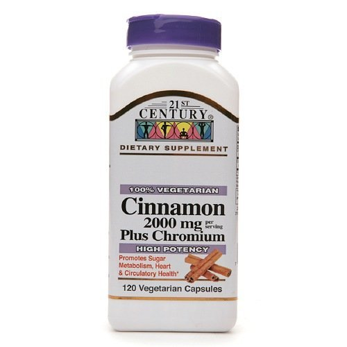 21st Century Cinnamon 2000 mg Plus Chromium, Veggie Capsules 120 ea Pack of 3