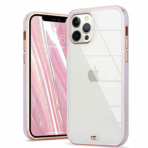 ROSEHUI Crystal Clear Kompatibel mit iPhone 11 Hülle Transparent Handyhülle Luxus Galvanisierte Rahmen [Vergilbungsfrei und Dünn] Weiche Silikon Durchsichtig Schutzhülle,Lila