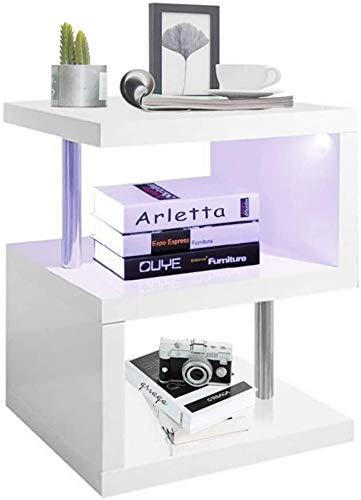 YOLEO Tavolino da Salotto con LED, in Legno e Metallo, 58x44x38 cm, Tavolino Comodino Basso, per Soggiorno, Camera da Letto, Corridoio, Ufficio, Bianco