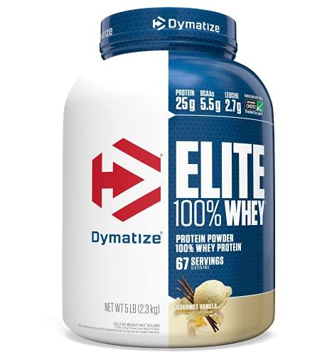 Dymatize Elite 100% Whey Protein Powder, 25g Protein, 5.5g BCAAs & 2.7g L-Leucine, Quick Absorbing &...