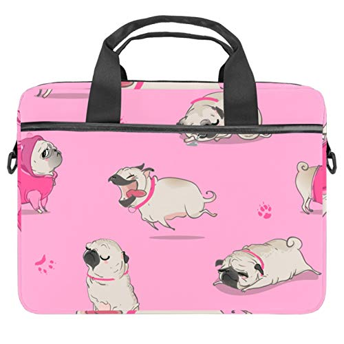 Briefcases Waterproof Computer Tablet Shoulder Bag Carrying Case Handbag for Men and Women Cute Animal Pug Paw Pattern Pink