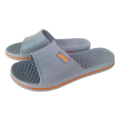 MIRRAY Soft Flip Flop for Unisex Flat Home Bathroom Slip On Sandals Plus Size 36-44 Men Women's Casual Slides Gray