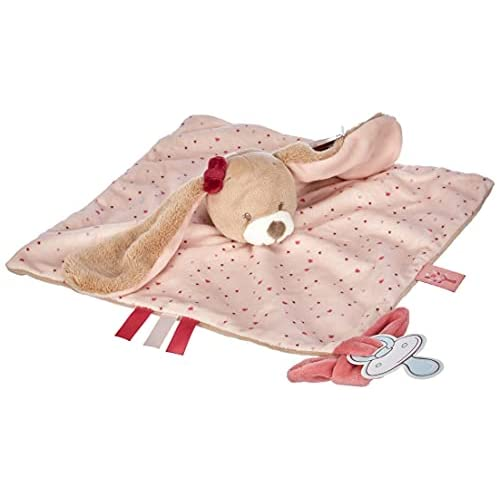 Nattou, Jade, & Lili Soft Toys Pupazzetto fazzoletto Nina Il Coniglietto, Compagno dalla nascita, 27 x 27 cm, Multicolore, Grande, 987165