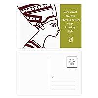 エジプトの抽象的なトーテムの側面の肖像画のフレスコ画 詩のポストカードセットサンクスカード郵送側20個