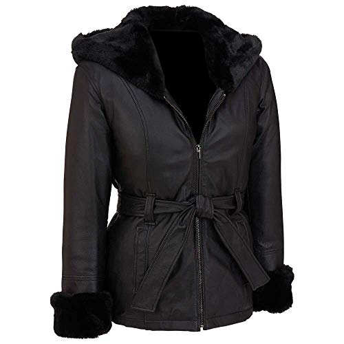 MSR Leather FF's Furry Chaqueta de piel sintética hecha a medida para mujer, chaqueta de piel sintética con capucha - negro - XX-Large