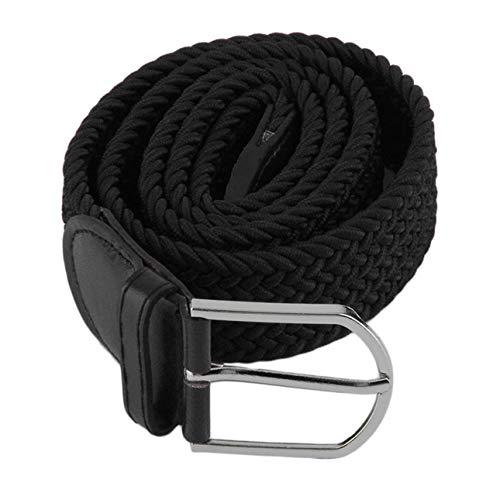 Ba30DEllylelly Hombres Cintura Informal Color sólido Tejido Trenzado Estiramiento Cinturón elástico Hebilla de Metal Correa de Cintura de Cuero de Lona