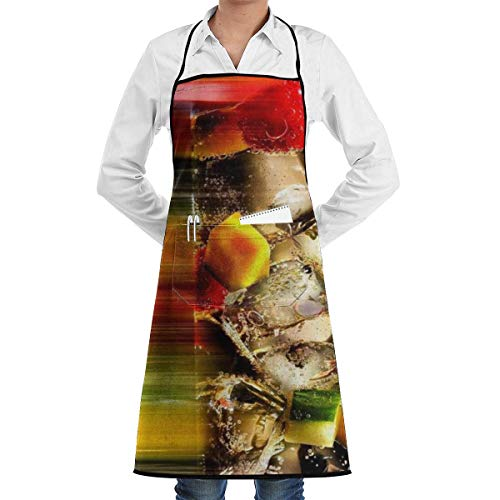 QUEMIN Bib Apron Cocktail Wallpaper Printed Adjustable Kitchen Cooking Chef Apron with Pocket for Men/Women, Cooking Baking Crafting Gardening & BBQ