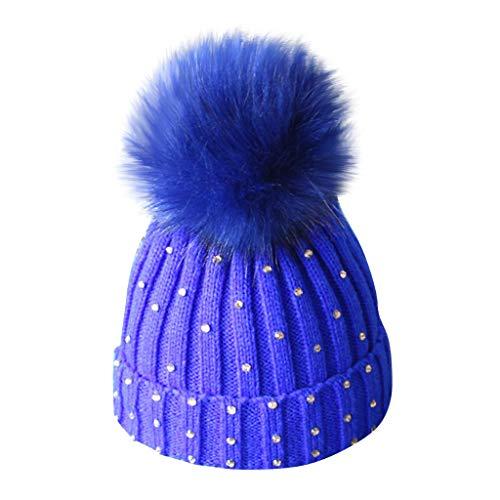 Baohooya Sombrero Caliente de Punto para Niño Niña - Gorros Invierno Bebe Taladro de Bolas de Pelo Gorro de Lana (Azul)