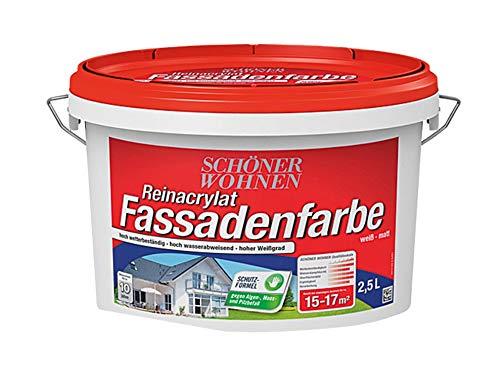 Schöner Wohnen 2,5 L. Reinacrylat Fassadenfarbe, Weiß Matt, vermindert die Ausbreitung von Microorganismen