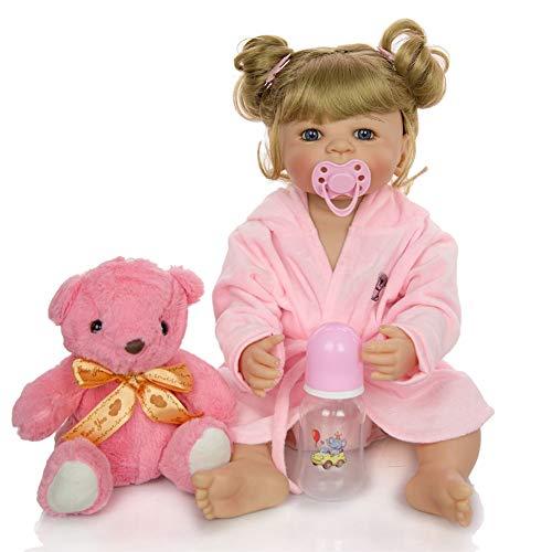 Dytxe-doll Muñecos Reborn, Bebe Reborn Juguettos, Muñeca La Moda del Renacimiento De Los, Hermoso Regalo para Niños, 55cm,C