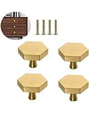 4 stuks massief messing zeshoek knoppen, enkele gat kleine knoppen handvat, woondecoratie keuken meubels hardware handgrepen, voor kast, bureau, lade, dressoir lade, goud (25 x 26 mm)