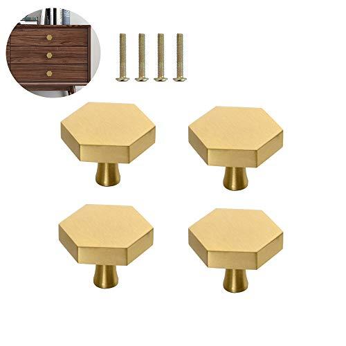 4 Stück Hexagon Einlochiger Kleiner Griff, Massiver Messing Möbelknopf, Nordischer Stil Schubladengriffe, für Tür, Schrank, Küchenschrank, Kommode, (25 mm * 26 mm)
