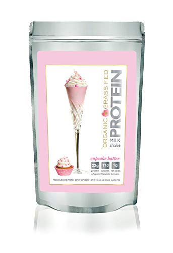 Protein Milkshake Organic Protein Powder - Cupcake Batter - Grass Fed Whey Protein, Low Carb (22g Protein, 3g Carb,110 Cal), Keto, WW, Gluten Free, Natural Flavor + Sweetener - 1 Pound,15 Servings