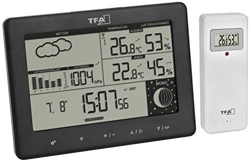TFA Dostmann Funk-Wetterstation Elements, 35.1158.01, mit Außensender, Wettervorhersage, deutsches Display, Mondphase, schwarz, (l) 158 x (b) 26 (57) x (h) 119 (117) mm