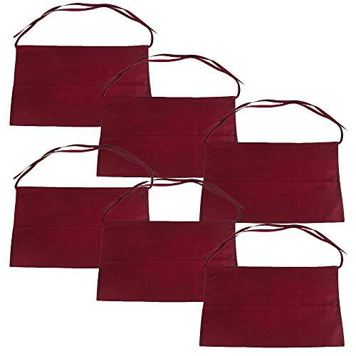 MGE - Delantal de Cocina - Modelo Camarero - 54 * 34 cm - Set de 6 - Rojo