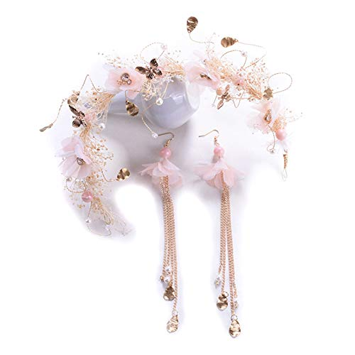 sbay Bride Hair Accessories Hair Vine with Simulated Pearl and Dried Flower Set of Headdress and Earrings for Wedding