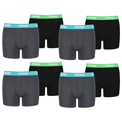 Puma Junior Boys Boxershort Basic Boys Boxer 8er Pack, Grösse:152, Farbe:india ink/turquoise