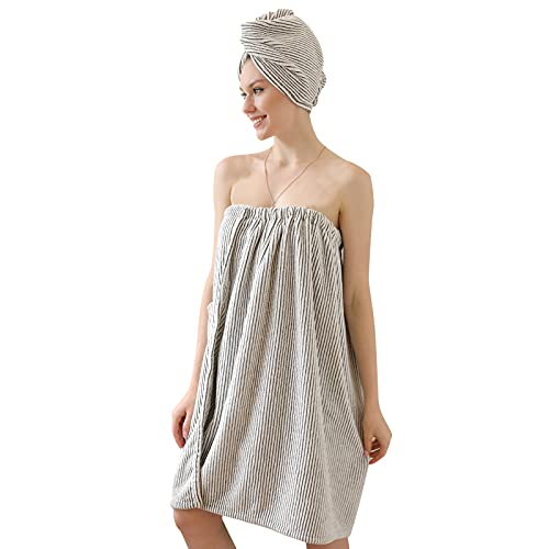 AYAIM Spa Body Towel Wrap, with Hair Towel, Women Bath Towel Wrap Cover Up for Shower, Super Soft Lightweight Bath Wrap with Velcro