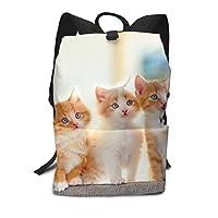 バックパックリュックサックラップトップバッグ 大容量 カジュアルバッグ 5匹の子猫 猫柄 旅行バッグ 通学用