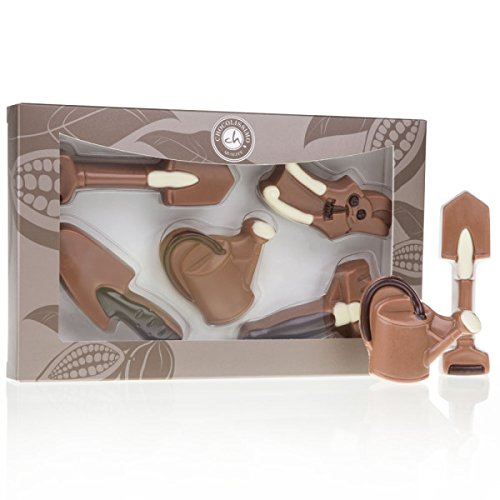 Gartenwerkzeuge aus Schokolade - 5-teiliges Geschenkset | lustige Geschenkidee | Geburtstagsgeschenk | Geschenk für Kinder | Erwachsene | Mann | Frau | aus Vollmilchschokolade | ohne Alkohol