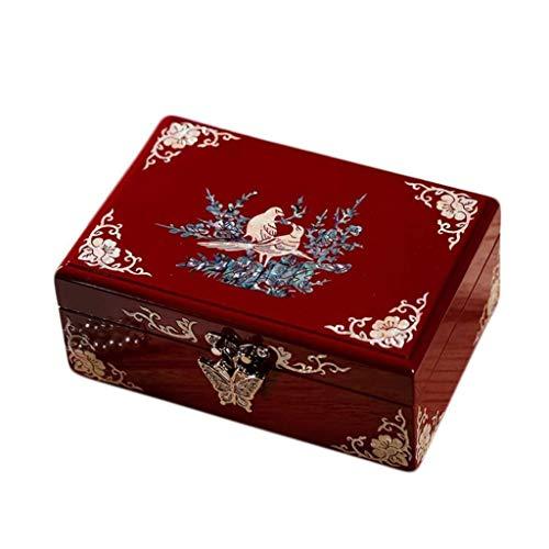 pojhf GYDSSH Joyería de la Vendimia Caja de la Caja, Forrado con Acento Floral diseños, Perfecto for los Pendientes de Collares y Anillos