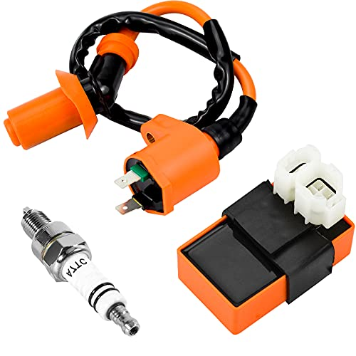 HongBoom CDI Ignition Coil Spark Plug,Ignition Coil 3-piece set for GY6...