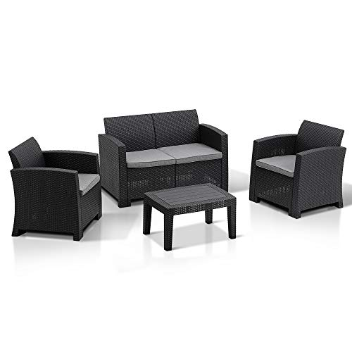 MCombo 5pcs Patio Furniture Set All-Weather Outdoor Sectional Sofa Rattan Pattern Patio Conversation Set w/Seat Cushions 6050-800 (Grey)