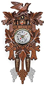 Antique Hanging Cuckoo Clock Wall Clocks Wooden Cuckoo Birdhouse Pendulum Wall Clock Hourly Sound Pop-Out Songbird for Room Decor Wall Art Living Room Kitchen Home Decoration C