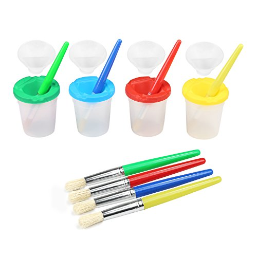 BelleStyle Spill Proof Paint Cups, 4 Colors No-Spill Paint Cups with Lids & 4 Pieces Assorted Colored Children's Painting Brushes