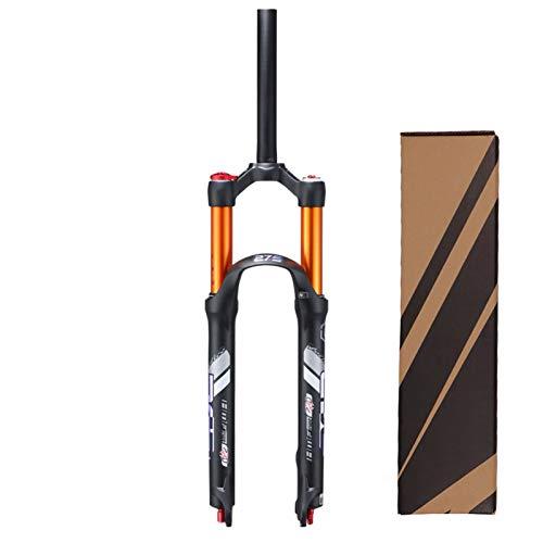 VPPV Horquillas Aire 26/27,5 Pulgadas MTB, Aleación Aluminio 1-1/8' Bicicleta Montaña Suspensión Horquilla Absorbente Recorrido 100 Mm (Color : Black, Size : 26inch)
