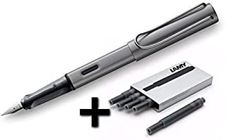 Lamy AL-Star Fountain Pen (26M) Graphite & 5 Black Ink Cartridges