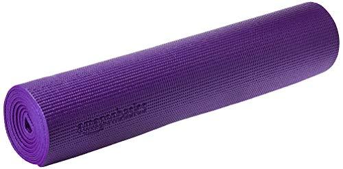 AmazonBasics - Alfombrilla para yoga y ejercicios, con correa de transporte, 0,63 cm, Morado