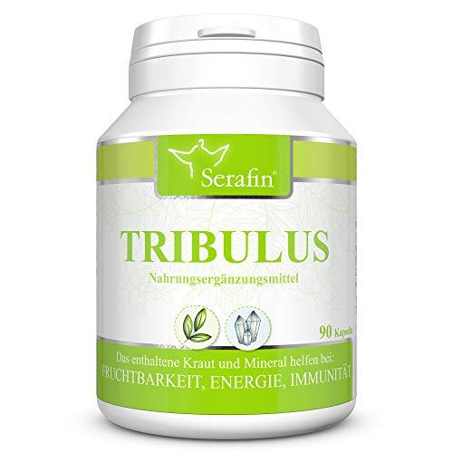 Serafin Tribulus Naturkapseln – Tribulus terrestris – 90 Kapseln – Erd-Burzeldorn + Zink + Vitamin E – Fruchtbarkeit, Unterstützung der Genitalien und Harnwege, Energie, Immunität, Muskeln